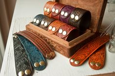 Leather Cuff Bracelet - Design your own -  Pick the stain color, snap color, length and pattern. $22.00, via Etsy.