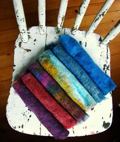 Making your own prefelts is so easy- and opens up so many opportunities for playing with colors, fibers and textures. Try using two or three different colors in layers; using wool for one layer and then another fiber like alpaca or angora for the next; Needle Felted, Nuno Felting, Felted Wool, Felted Scarf, Felting Tutorials, Felt Art, Felt Flowers, Fabric Art, Felt Crafts