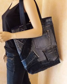 Schultertaschen - Schopper, Jeanstasche , Jeans Recycling - ein Designerstück von sauterart bei DaWanda