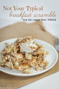 This not-so-typical egg white scramble combines a few interesting flavors into a wow-worthy combination.  Low-fat, sugar-free, THM:E