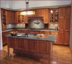 Kraftmaid Cabinet style: Thornton. Wood: Maple. Finish: Honey ...