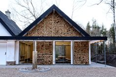 LUMO architects adds log house to rural danish recreational center