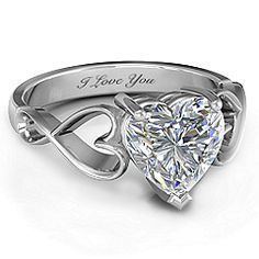 Heart Shaped Stone with Interwoven Heart Infinity Band #jewlr