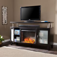 """Décor Flame Cameron 66"""" Media Fireplace for TVs up to 70"""" Dark"""