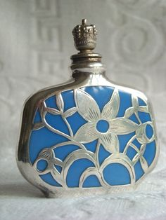 Antique German Perfume Bottles | German Enamel Crown Top Perfume Scent Bottle with Silver Overlay from ...