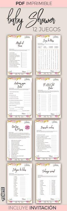 Paquete de 12 juegos baby shower niña e invitación personalizada. PDF descargable listo para imprimir. Baby shower, baby shower elefante, baby shower niña, baby shower juegos.