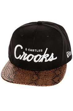 Crooks and Castles Hat Team Thuxury in Black and Snake