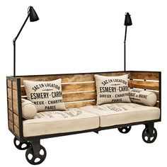 pallet+sofa+and+chair | Wood and metal factory day bed on wheels with fitted extendable lights ... #Palletsofa