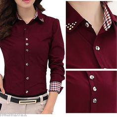Fashion Women Long Sleeve OL Shirt Turn Down Collar Button Blouse Tops 2 Colors New Fashion, Womens Fashion, Office Fashion, Vintage Fashion, The Office Shirts, Work Tops, Fashion Seasons, Types Of Sleeves, Full Sleeves