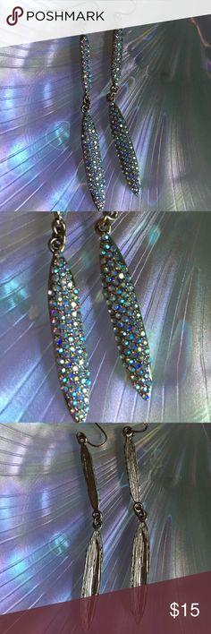 "Iridescent rhinestone drop earrings 3"" long : perfect condition Jewelry Earrings"