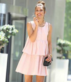 46f365a49a7a Boutique rose sur 3Suisses France. Robe sans manches 2 volants effet plissé  femme Exclusivité 3SUISSES - Rose Clair
