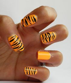 31 Day Challenge Models Own Beach Party Tiger Print Nail Art by Nailtart.com
