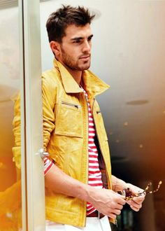Yellow leather jacket with red and white striped top, don't be afraid of color! Men's style.