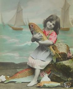 Vintage French Postcard - Little Girl Holding a Fish (Poisson D'Avril / April 1st) by ChicEtChoc on Etsy