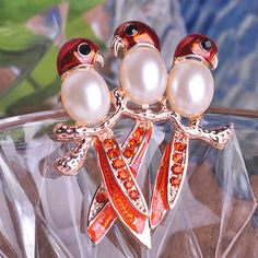 Enamel & Pearl 3 parrots Broch Only $17.37  => Save up to 60% and Free Shipping => Order Now! #Ring #Jewelry #woman #fashion
