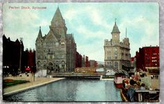 1910 Syracuse NY Erie Canal Packet Dock Postcard, Antique Vintage - My grandmother always told me that the Erie Canal ran through Syracuse. So nice to see a photo of it.