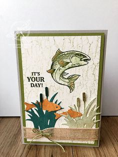 Another masculine card fish themed card today, this time it's all about Best Catch and Catch of the day dies. Masculine Birthday Cards, Birthday Cards For Men, Masculine Cards, Men Birthday, Fish Crafts Preschool, Preschool Christmas Crafts, Crackle Painting, Dot Painting, Paper Bag Puppets