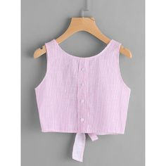 Shop Vertical Striped Open Back Bow Tie Crop Tank Top online. SheIn offers Vertical Striped Open Back Bow Tie Crop Tank Top & more to fit your fashionable needs. Stylish Blouse Design, Fancy Blouse Designs, Saree Blouse Designs, Teen Fashion Outfits, Casual Outfits, Cute Outfits, Jugend Mode Outfits, Crop Top Outfits, Outfit Trends