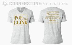 Pop, fizz, clink! He popped the question, we're popping bottles engagement celebration shirts! This design was printed on Bella Canvas shirts, super soft, flowy, and so cute! Like this style? Simply click the link and request a quote through our website. :)