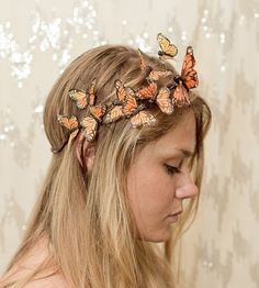 Orange Monarch Butterfly Crown - princess, fairy,forest,renaissance-Feel like a princess. This crown is decorated with orange Helloween Party, Renaissance Fair, Tiaras And Crowns, Headdress, Fascinator, Rave, Hair Beauty, Hair Accessories, Cosplay