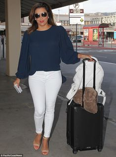 Traveling again! On Monday, Eva Longoria, 42, prepped for a flight out of  Bob Hope Airpor...