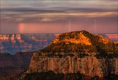 Morning Magic, Grand Canyon National Park by Don Smith ....Thunderstorm, lightening, rainbow and sunrise.....this photographer got it all !!!!!