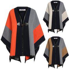 Angvns Lady Causal Patchwork Wrap Shawl Poncho Cape Coat Cloak Jacket Outwear | eBay