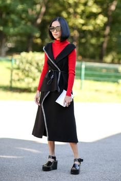 60 Head-To-Toe-Amazing Street Style Snaps From Milan Fashion Week #refinery29  http://www.refinery29.com/2015/09/94857/milan-fashion-week-spring-2016-street-style-pictures#slide-13  A bright-red turtleneck adds some color....