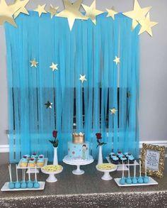 déco anniversaire 1 an Le petit prince thème bleu étoiles