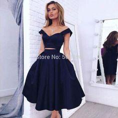 <font><b>Lovely</b></font> <font><b>Tea</b></font> Length 2 Pieces <font><b>V</b></font> <font><b>neck</b></font> Prom <font><b>Dresses</b></font> 2016 Short Sleeves A line Satin Party Formal Gowns robe de soiree courte Price: USD 186.99 | UnitedStates