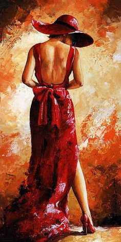 Lady In Red 39 by Emerico Imre Toth - Lady In Red 39 Painting - Lady In Red 39 Fine Art Prints and Posters for Sale