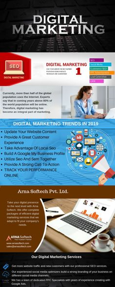 Arna Softech is a leading digital marketing agency that focuses on growing your business successfully with online marketing services. We are a team of online marketing experts, Get a free consultation today! Digital Marketing Trends, Online Marketing Services, Seo Marketing, Social Media Marketing, Business Profile, Local Seo, Customer Experience, Big