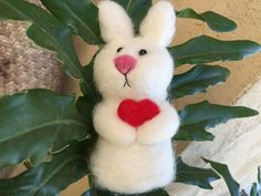 Easter Bunny Easter rabbit  bunny love heats gift by Felt4Soul