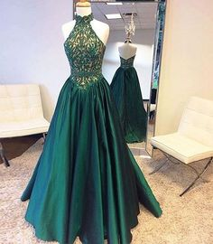 Prom Dresses 2018 Elegant Halter Sweep Train Hunter Prom Dress with Lace Beading, Emerald Green Prom Dress, Prom Party Dress, Long Prom Dress Modest Prom Dresses Cheap, Strapless Prom Dresses, Open Back Prom Dresses, Prom Dresses 2018, Ball Gowns Prom, Plus Size Prom Dresses, A Line Prom Dresses, Dresses For Teens, Sexy Dresses