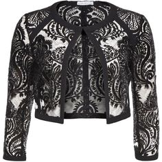 Gina Bacconi Baroque Sequin Mesh Jacket ($225) ❤ liked on Polyvore featuring outerwear, jackets, black, women, bolero jacket, embroidered jacket, baroque jacket, mesh jacket and sequin bolero
