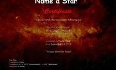 I will dedicate a star and create for you a Name a Star Certificate with co-ordinates.  You can choose a background for the certificate from the ones I will send you  Or…  If you require one of your own specific photographs/picture for the background, please supply it Black Friday Specials, Soccer Shirts, Cheap Shoes, Sport T Shirt, Constellations, Names, Things To Sell, Certificate, Alice