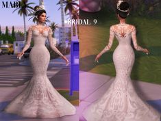 Bridal 9 dress at mably store Sims 4 Mods Clothes, Sims 4 Clothing, Sims Mods, Female Clothing, Woman Clothing, Diy Clothes, The Sims 4 Pc, Sims 4 Cas, Sims Cc