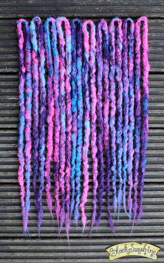Pink Purple and Blue Crochet Synthetic Dreads DE -accent Faux Dreads, Wool Dreads, Crochet Dreadlocks, Locs, Dread Hairstyles, Black Hairstyles, Braided Hairstyles, Wedding Hairstyles, Natural Dreads
