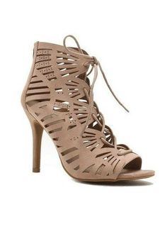 c02347a20ed Head Over Heels Taupe Caged Heels www.shopsimplyme.com Simply Me Boutique