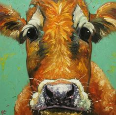 Cow painting 553 30x30 inch animal original oil painting by RozArt, $365.00