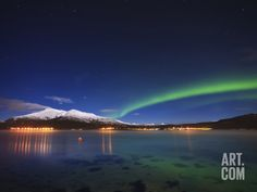 Aurora over Tjeldsundet and Sætertinden Mountain in Norway Photographic Print by Stocktrek Images at Art.com