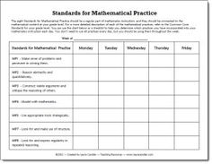 Standards for Mathematical Practices - Free chart to help you track the mathematical practices you are using throughout the week