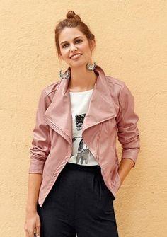 Bunda z imitácie kože #ModinoSK #pink #jacket