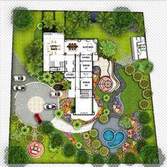 Residential Landscape by me Architecture Résidentielle, Landscape Architecture Drawing, Landscape Design Plans, Site Plan Design, Interior Design Renderings, Architectural House Plans, Garden Design, Villa, Ideas