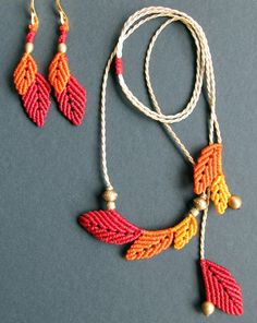 Reserved for Joni: Micro macrame leaves necklace by Mediterrasian