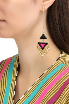 Bauble Bazaar Featuring a pair of matte finish triangular dangler earrings with black and pink silk thread embroidery work and pearl and gold bunch hangings, set in brass metal. Jewelry Design Earrings, Ear Jewelry, Designer Earrings, Boho Jewelry, Wedding Jewelry, Jewelery, Fashion Jewelry, Stud Earrings, Handmade Jewelry