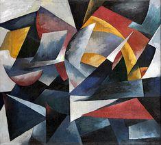 Aleksandra Ekster (Russian 1882–1949) [Futurism, Cubism, Constructivism, Suprematist] Futuristic composition, 1917-1918.