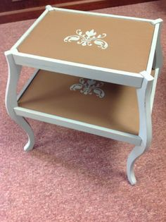 Painted table with stencil.