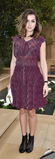 Cuban actress Ana de Armas in Chanel Cruise 2016 dress attends the Chanel Haute Couture Spring 2016 show.