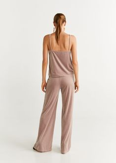 Velvet palazzo trousers - Women | Mango United Kingdom Palazzo Trousers, Trousers Women, United Kingdom, Mango, Velvet, Fashion, Manga, Moda
